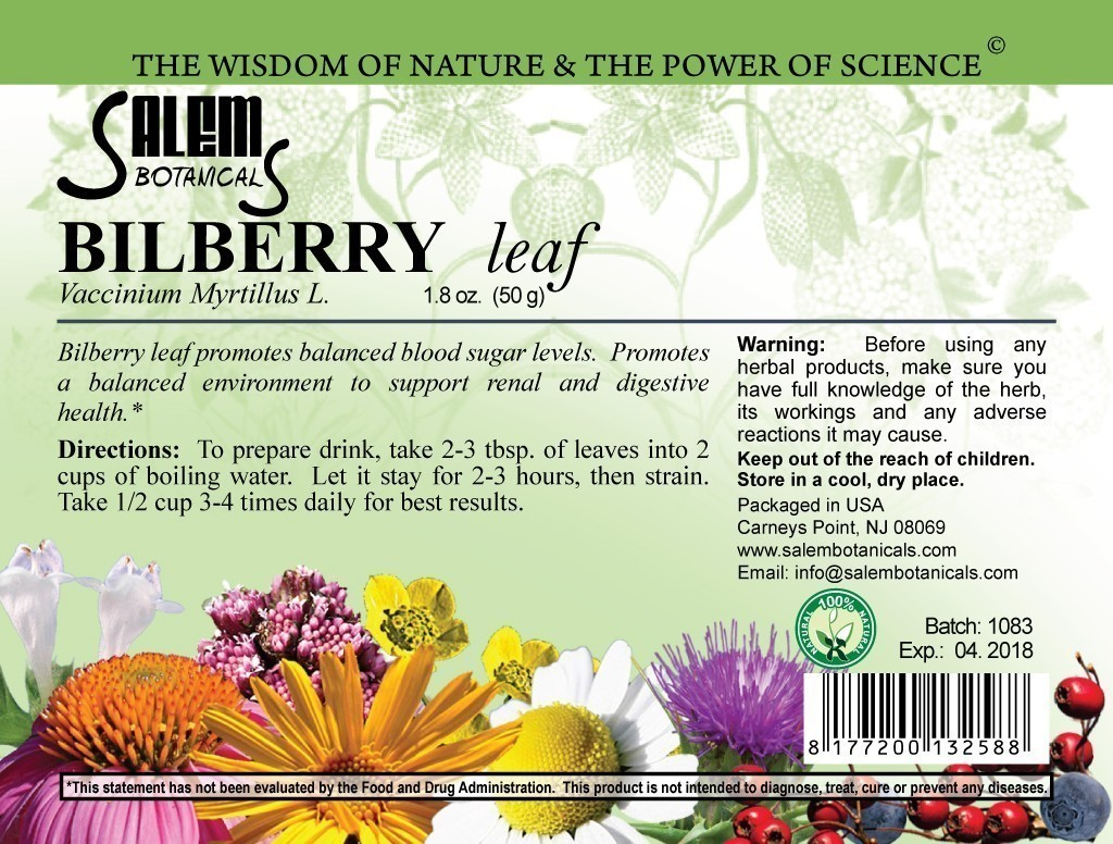 Bilberry Leaves 1.8oz (50gr) Dry Herbs, Berries and Fruits