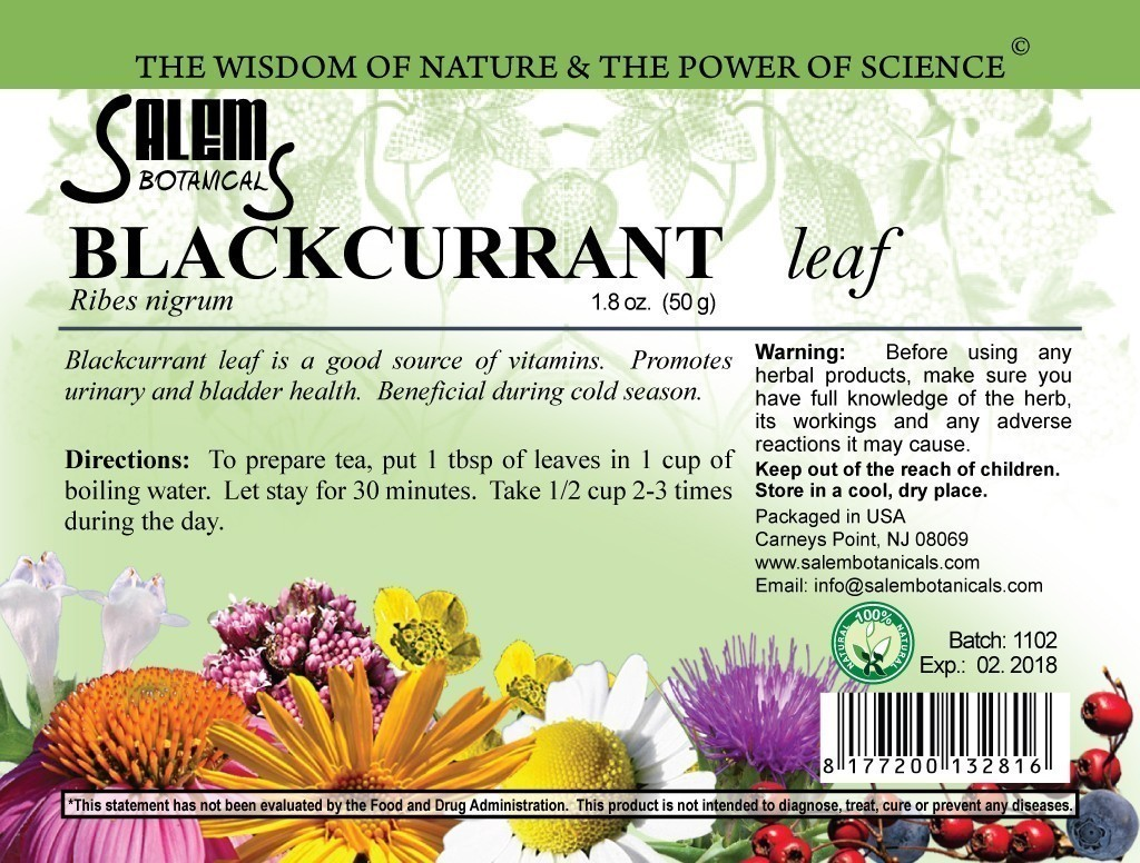 Blackcurrant Leaf 1.8oz (50gr) Dry Herbs, Berries and Fruits