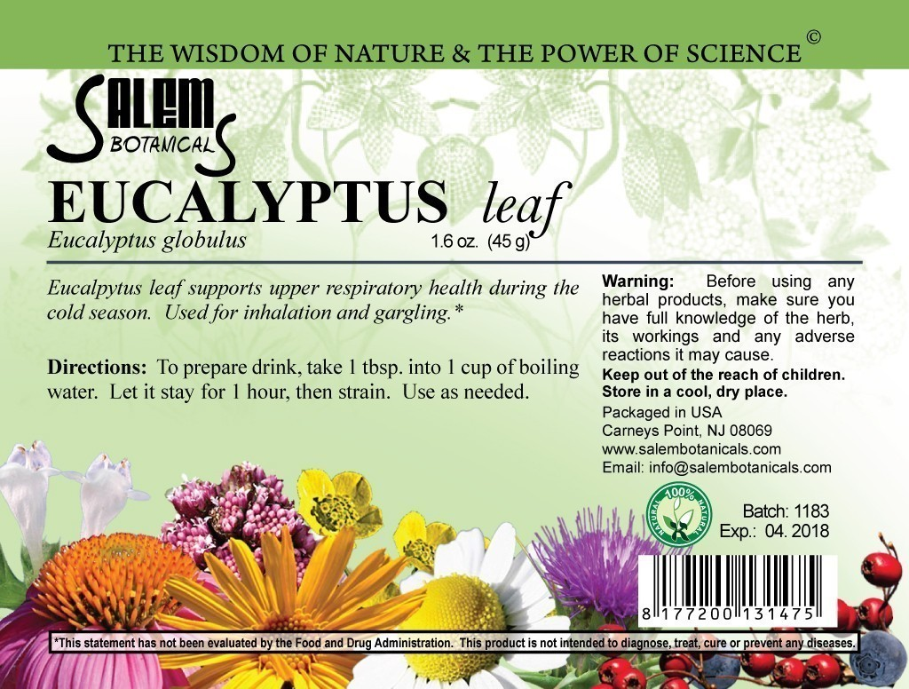 Eucalyptus Leaf 1.6oz (45gr) Dry Herbs, Berries and Fruits