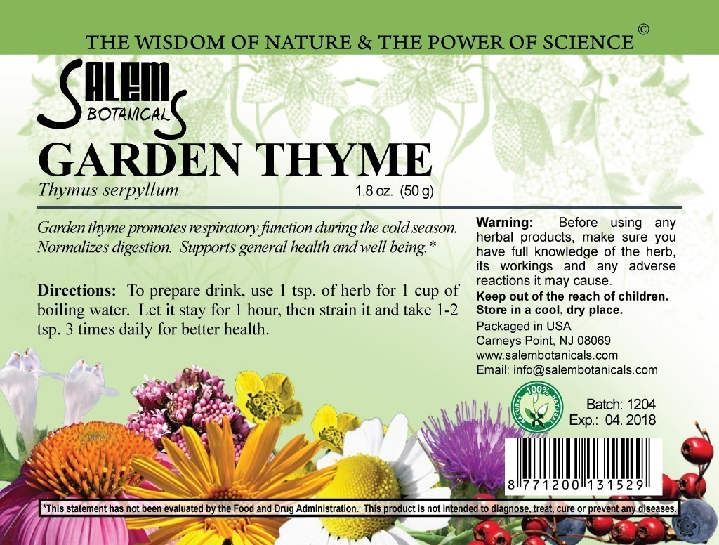 Garden Thyme 1.8oz (50gr) Dry Herbs, Berries and Fruits
