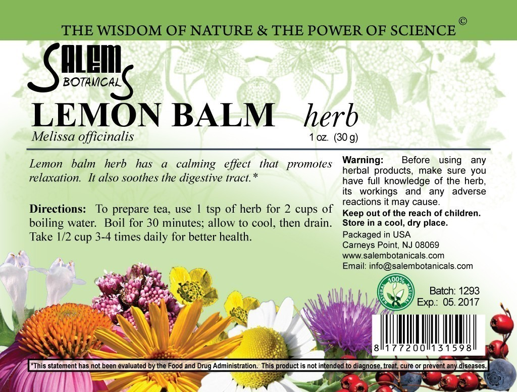 Lemon Balm Herb 1oz (30gr) Dry Herbs, Berries and Fruits
