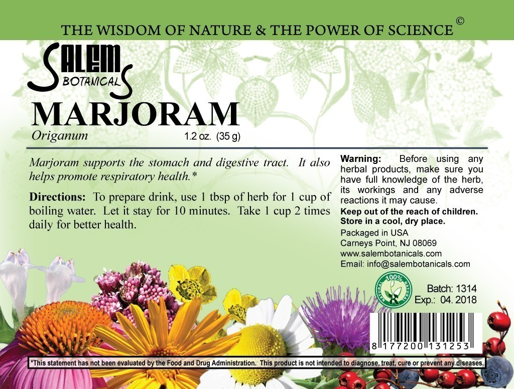 Marjoram 1.2oz (35gr) Dry Herbs, Berries and Fruits