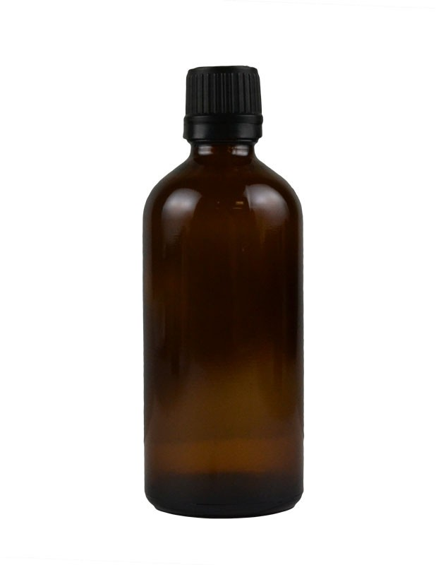 3.4 oz. (100 ml) Amber Glass Bottle with Self Seal Cap (Black) Packaging