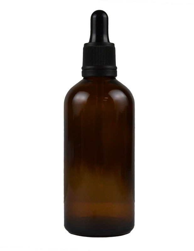 3.4 oz. (100 ml) Amber Glass Bottle with Tamper Evident Dropper Cap Packaging