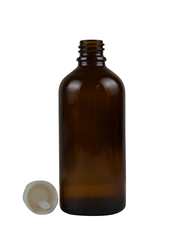 3.4 oz. (100 ml) Amber Glass Bottle with Self Seal Cap (White) Packaging