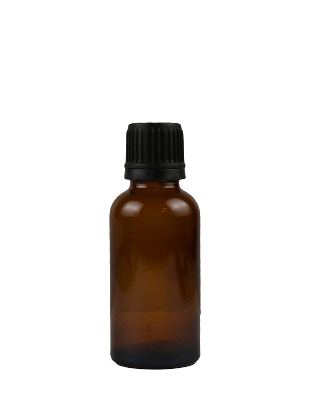 1 oz. (30 ml) Amber Glass Bottle with Self Seal Cap (Black) Packaging