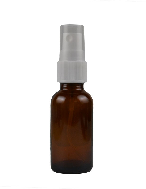 1 oz. (30 ml) Boston Round Bottle with White Sprayer 18mm 13/16″ tube Packaging
