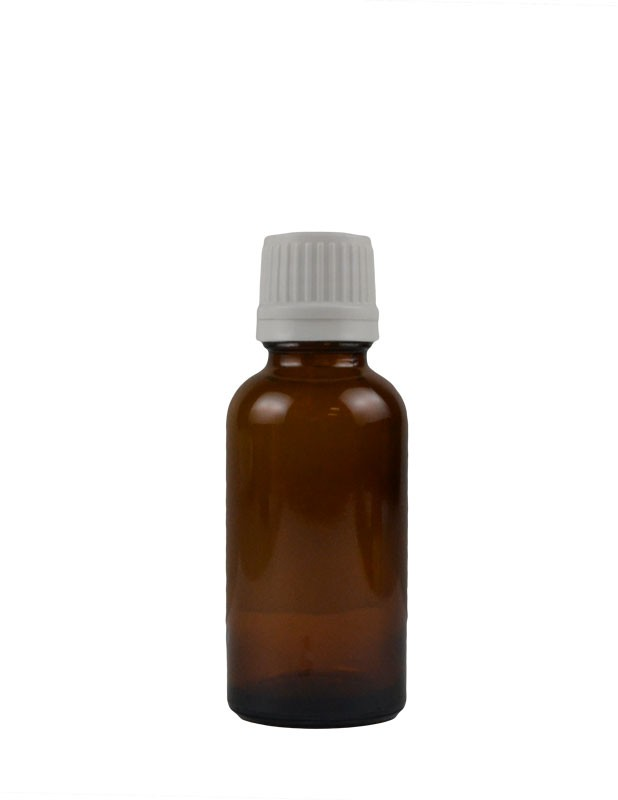 1 oz. (30 ml) Amber Glass Bottle with Self Seal Cap (White) Packaging