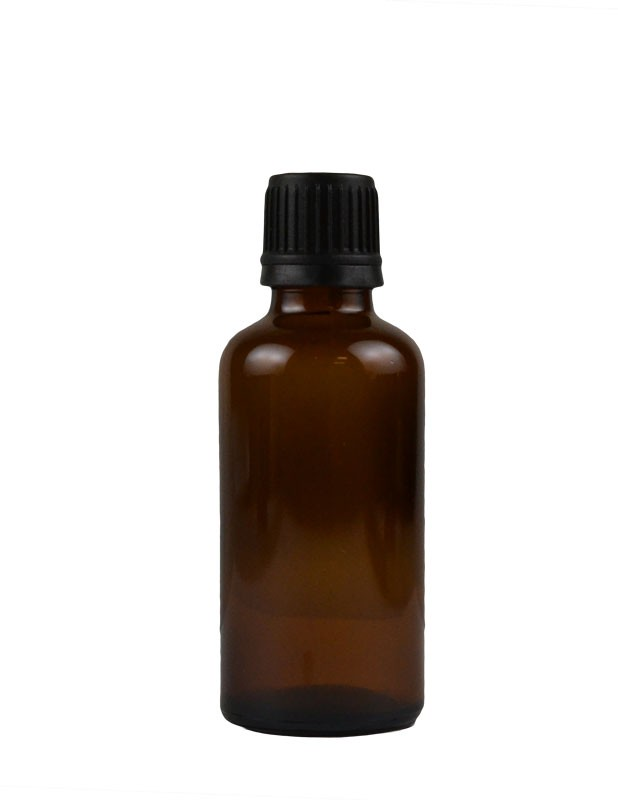 1.8 oz. (50 ml) Amber Glass Bottle with Self Seal Cap (Black) Packaging